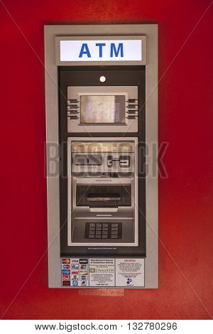 FORT WORTH USA - APR 6: Mini ATM accepting all popular cards in the Fort Worth Stockyards District. April 6 2016 in Fort Worth Texas USA