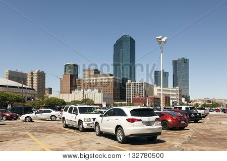 FORT WORTH USA - APR 6: Cars on a parking lot in Fort Worth downtown district. April 6 2016 in Fort Worth Texas USA