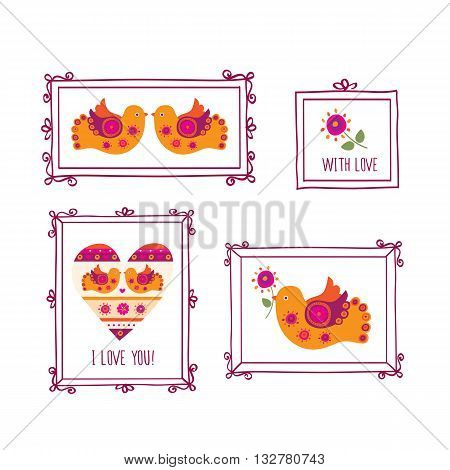 Vintage frames, decorative birds and flowers. Set of hand drawn elements for Mother's Day, Valentine's Day, birthday, wedding invitations.