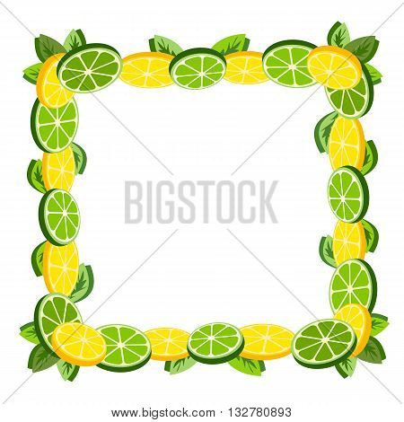 Citrus Fruits. Sliced lemon lime leaves. Fresh citrus wedges Frame Concept. Organic fruit borderl. Tropical citrus. Lemon lime decorative frame for menu. Vector Illustration