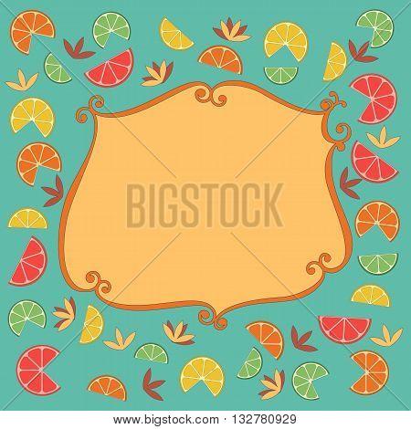 Citrus Fruits. Sliced lemon lime orange grapefruit leaves. Fresh fruit frame Concept. Organic product border. Tropical citrus decoration for dieting desert menu. Vector Illustration