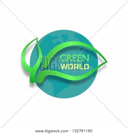 Eco friendly concept. Green leafs globe Eco Friendly words. Nature saving. Planet the Earth. Green world concept. Environment protection. Vector illustration