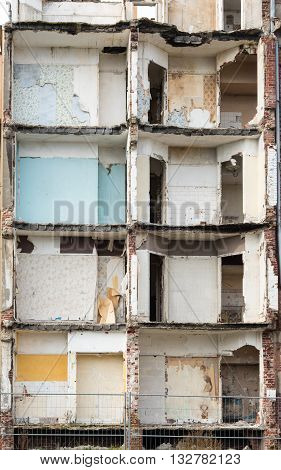 Shell of partially demolished building in France