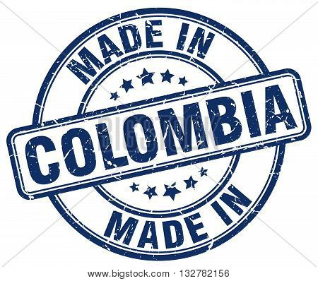 made in Colombia blue round vintage stamp.Colombia stamp.Colombia seal.Colombia tag.Colombia.Colombia sign.Colombia.Colombia label.stamp.made.in.made in.