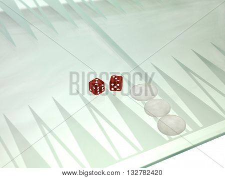 High Angle View Of A Red Dice And Chess Piece