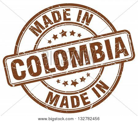 made in Colombia brown round vintage stamp.Colombia stamp.Colombia seal.Colombia tag.Colombia.Colombia sign.Colombia.Colombia label.stamp.made.in.made in.