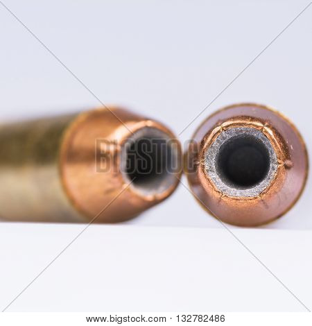 Macro close up of hollow point 40mm bullet