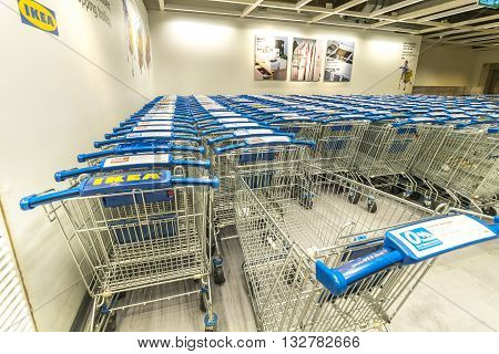 KUALA LUMPUR MALAYSIA - MAY 22 2016: Trolleys compartment at IKEA Store Kuala Lumpur Malaysia. Founded in Sweden in 1943 Ikea is the world's largest furniture retailer