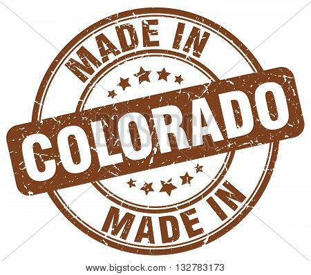 made in Colorado brown round vintage stamp.Colorado stamp.Colorado seal.Colorado tag.Colorado.Colorado sign.Colorado.Colorado label.stamp.made.in.made in.