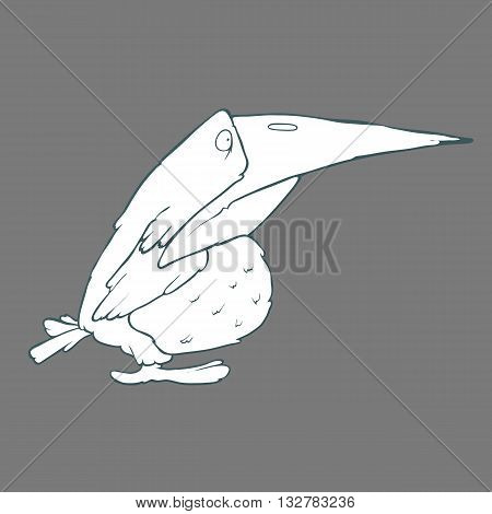 Illustration of hand drawn funny crow or raven bird. Black and white Vector cartoon. Concept of the character on flat background. Cartoon childish image in unique style