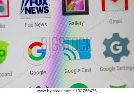 SARANSK, RUSSIA - JUNE 04, 2016: A smartphone screen shows Google Cast and other Google services icon's on the screen. Selective focus.