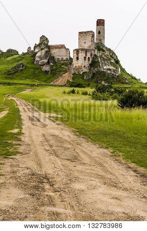 Olsztyn Poland - June 3 2016: Ruins of the castle in Olsztyn near Czestochowa - Trail of the Eagles' Nests.