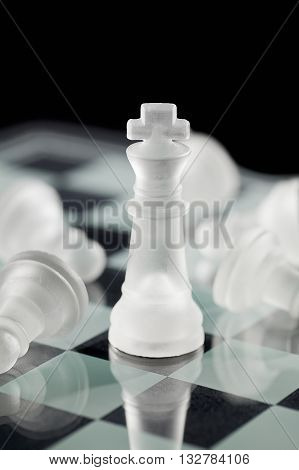 Chess King With Fallen Chess Pawn On Board