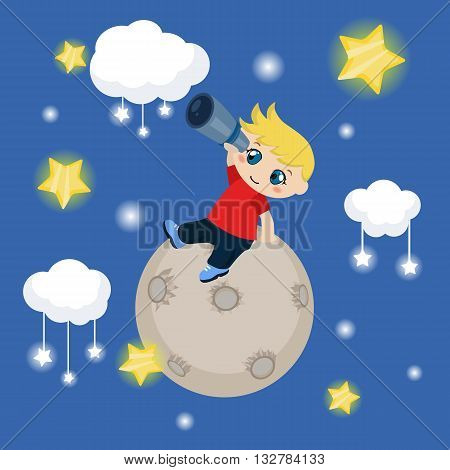 Vector illustration of cute boy watching through telescope at starry night. Background with clouds and stars.
