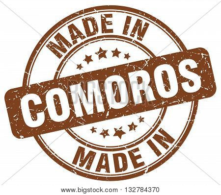 made in Comoros brown round vintage stamp.Comoros stamp.Comoros seal.Comoros tag.Comoros.Comoros sign.Comoros.Comoros label.stamp.made.in.made in.
