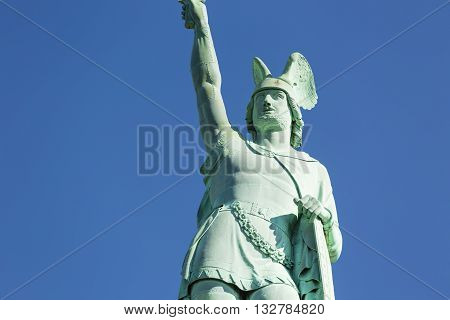 Close-up of the famous Hermannsdenkmal in the Teutoburger Wald near Detmold Germany