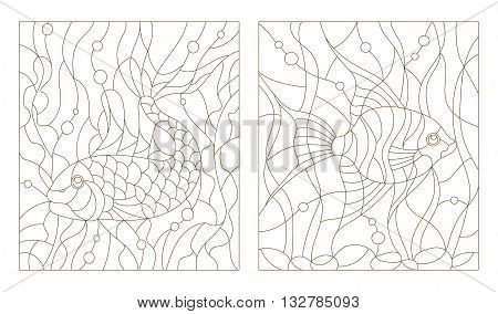 Set contour illustrations of stained glass with aquarium fish the goldfish and scalars