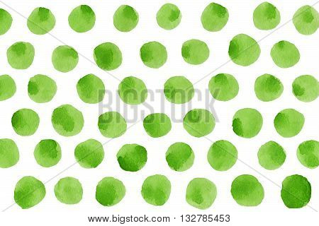 Green Polka Dot Watercolor Pattern.