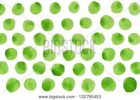 Green Polka Dot Watercolor Pattern.