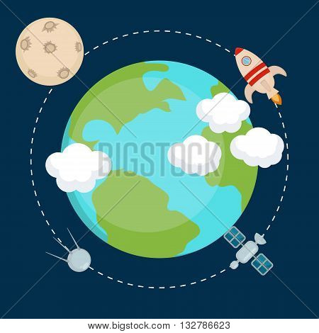Space theme banners and cards with flat astronomic symbols of planets rocket moon satellite for design invitations and advertisement