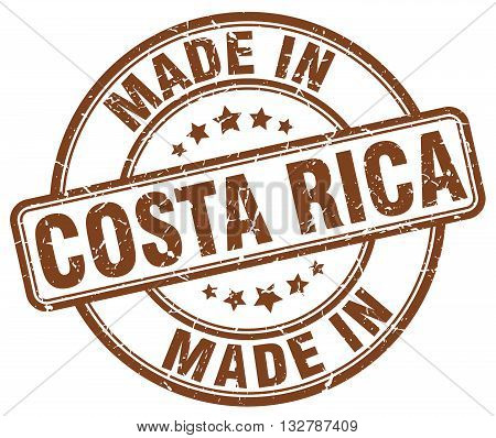 made in Costa Rica brown round vintage stamp.Costa Rica stamp.Costa Rica seal.Costa Rica tag.Costa Rica.Costa Rica sign.Costa.Rica.Costa Rica label.stamp.made.in.made in.
