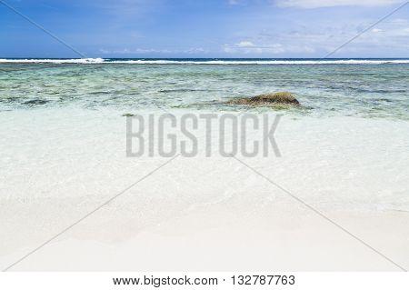 Beach And Lagoon, La Digue, Seychelles