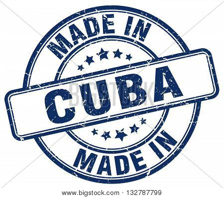 made in Cuba blue round vintage stamp.Cuba stamp.Cuba seal.Cuba tag.Cuba.Cuba sign.Cuba.Cuba label.stamp.made.in.made in.