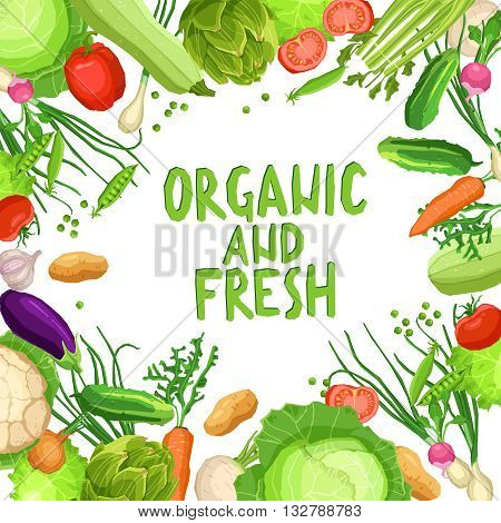 Flat Vegetables Background With Text. Organic And Fresh Vegetables On White Background. Healthy And Vegetarian Food Concept. Healthy Lifestyle