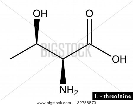 Molecular structure of amino acid L-threonine - biosynthesis of proteins