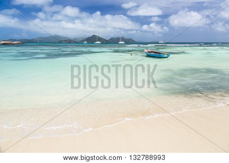 Boat In Lagoon, La Digue, Seychelles