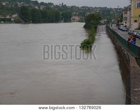 CORBEILLE ESSONNE, FRANCE - 4 June 2016: The river Seine flooding its banks.