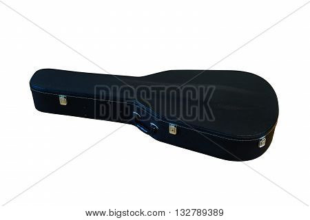 Black Hard Case for Guitar isolated on White Background