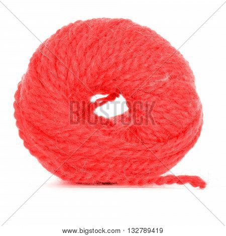 Roll of yarn braided texture isolated on white background