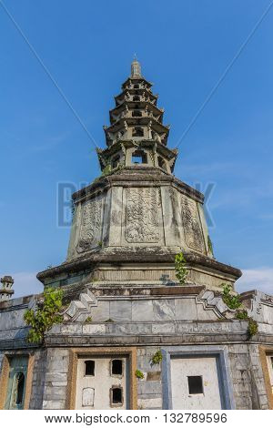 The Chinese style Pagoda more than 100 years old of Kalayanamitr temple in Bangkok Thailand
