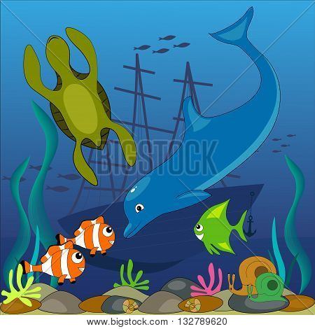 illustration with the image of sea creatures on the ocean floor