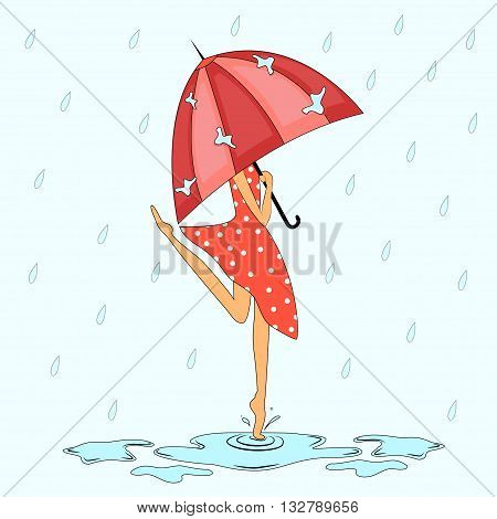 girl with an umbrella in the rain jumping in puddles