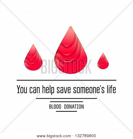 Blood donation poster. Donors day symbol. Medical vector