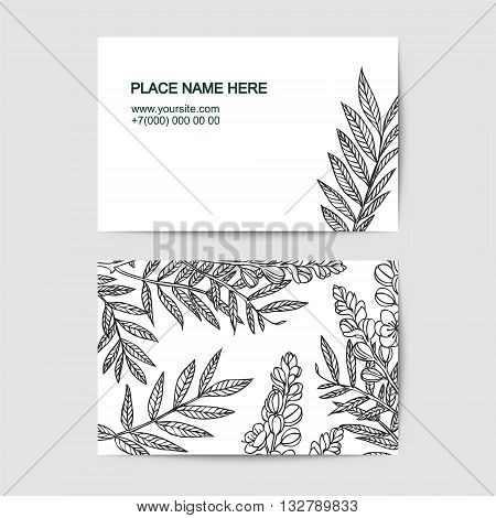 Vector visiting card template with senna linear flowers