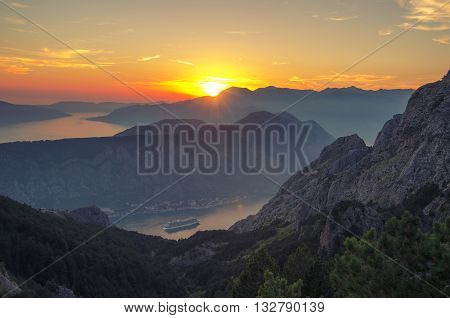 Mountain Sundown in the Kotor Bay Boka Kotorska Montenegro.