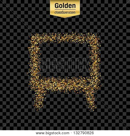 Gold glitter vector icon of TV screen isolated on background. Art creative concept illustration for web, glow light confetti, bright sequins, sparkle tinsel, abstract bling, shimmer dust, foil.