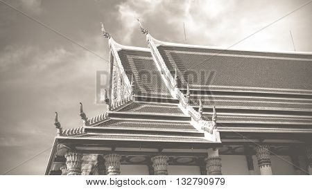 Sanctuary in temple at Wat Thep Sirin Thrawat Ratchaworawihan. process in vintage black and white style.