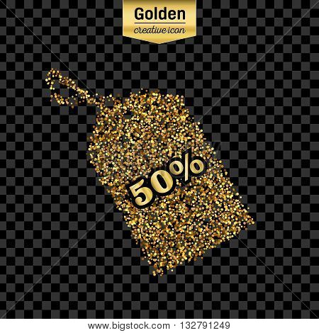 Gold glitter vector icon of tag discounted isolated on background. Art creative concept illustration for web, glow light confetti, bright sequins, sparkle tinsel, abstract bling, shimmer dust, foil.