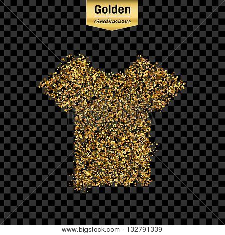 Gold glitter vector icon of tee shirt isolated on background. Art creative concept illustration for web, glow light confetti, bright sequins, sparkle tinsel, abstract bling, shimmer dust, foil.