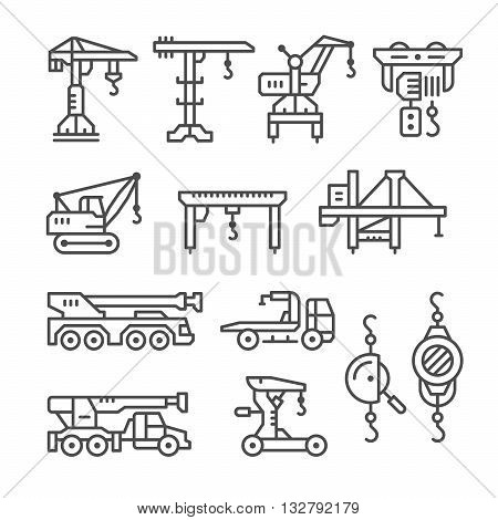 Set line icons of crane, lifts, winches isolated on white. Vector illustration