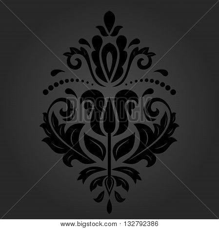 Elegant vector ornament in the style of barogue. Abstract traditional pattern with oriental elements. dark orient pattern