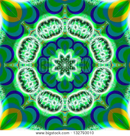 Beautiful green and blue kaleidoscopic fractal in the shape of a flower