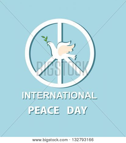 Greeting card with paper dove and peace symbol for International Peace day