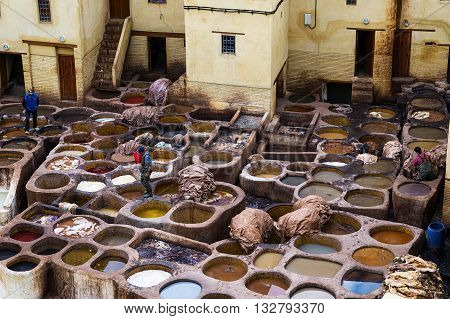 Fez Morocco - April 11 2016: Tree man working in a tannerie in the city of Fez in Morocco.