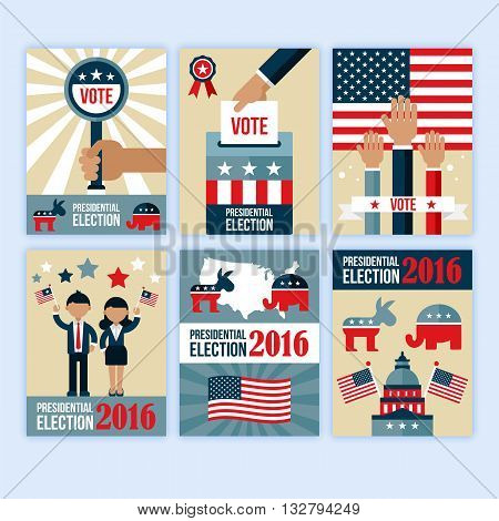 US presidential election poster desgn set. Presidential election voting concept for web and graphic design