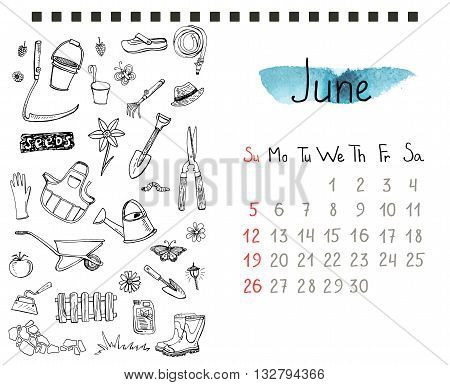 Calendar page template with hand drawn gardening doodles. EPS 10.